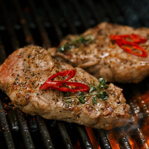 outdoor reared pork steaks