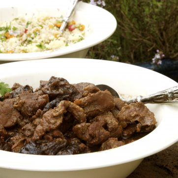 diced mutton cooked in bowl