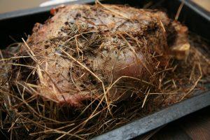 venison haunch baked in hay
