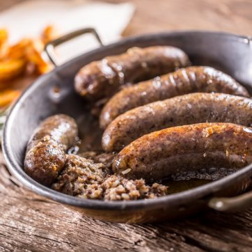 pork and haggis sausages