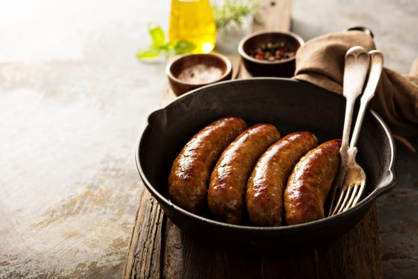 cooked wild venison sausages