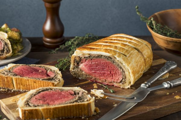 Fillet of beef wellington cooked and sliced