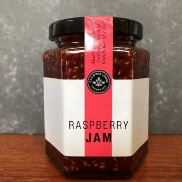 galloway lodge raspberry jam in glass jar