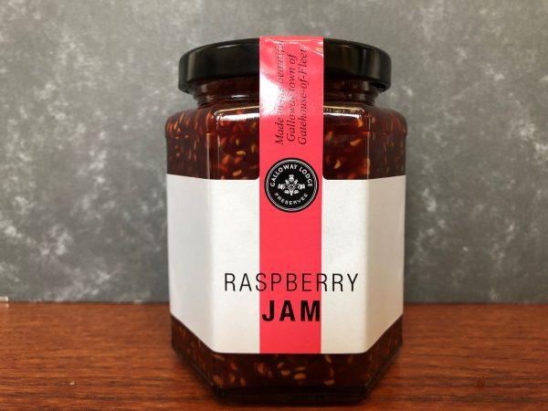galloway lodge raspberry jam in glass jar